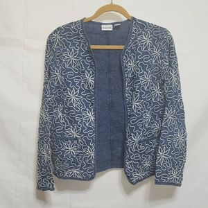 Chico's Blue Embroidered Blazer Size 0 Small